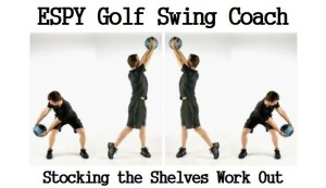 CASPER Fitness Program that I follow is using a Medicine Ball golf swing workout to perform what I call Stocking the Shelves, illustrated below in the figure