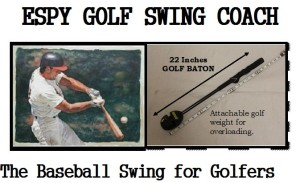 Using a baseball-type on deck circle technique of a golf baton to improve your golf swing mechanics and clubhead speed.