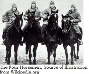 The phrase Four Horsemen appeared in Apostle John's Book of Revelation and in football by the sports writer Grantland Rice, the Shakespeare of sports writers. In football, The Four Horsemen describes the four backs on the 1924 Notre Dame football team.