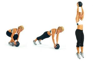 CASPER Fitness Program that I follow is using a Medicine Ball golf swing workout to perform what I call Medicine Ball Burpees, illustrated below in the figure