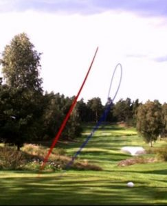Pro-Tracer golf ball flight path image used as the golfer's pre-shot routine.