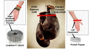 Pair of boxing gloves with red line JOC (Joint Orientation Concept) to help the golfer to synchronize the golfer's hands, wrists, forearms, and Elbow with the golfer's shoulders.