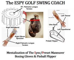 How to use simple boxing gloves to Sync/Preset the proper wrist action in the golf swing. The red line is the JOC Joint Orientation Concept of syncing the wrist and lower forearm to preset the wrist action in the golf swing.