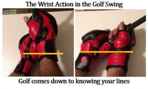 The SYNC/PRESET are unique techniques, allowing the golfer to set the Lock Position, but more interesting is how the wrists are synchronized with each other. The top of the left and right wristbands are aligned with each other in the Lock Position. The kickboxing gloves above are a great coaching tool to get the golfer to understand what their wrists should look like in the Lock Position.