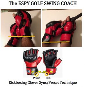 If you positioned the kickboxing gloves as if they were on the handle of the golf club, shown in the figure below, a synchronized line could be drawn between the top of the left wristband to the bottom of the right wristband, for a right-handed golfer. Remember that the gloves are upside down