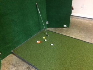 I used the steel framed and plywood cover to protect the putting surface when not in use. I don't have to remove the plywood cover to hit Almost Golf Balls into the tarp until I start chipping/pitching/putting components of the golf swing workout training. I simply place the 4 Ft X 3 Ft chipping/pitching mat on the right end of the plywood cover.