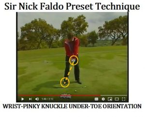 Nick Faldo, like Chris DiMarco, actually pauses before proceeding to the top of his golf swing. This gives the large muscles in the arm, shoulder, and torso time to sync with the faster smaller muscles in the wrists. If you notice in Nick's preset position, his Triquetrum Bone and Pinky knuckle point toward his large toe on his right foot. This also allows the conscious mind to communicate with the subconscious mind on what is needed.