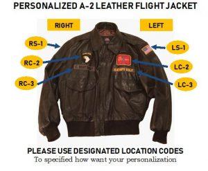 Personalized A-2 Leather Flight Jackst Designation code