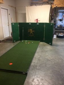 Develop a complete Tee-To-Green practice session in the convenience of your home or office. To complete the golfer's practice session, the golfer will need to have access to a putting surface. Without installing an expensive artificial green in your backyard, the golfer can use an affordable option of the storable BirdieBall® putting greens that has realistic, undulating surfaces and green speeds that match those of an actual green on the golf course. This can be placed in the garage, spear room, or in a business sitting.