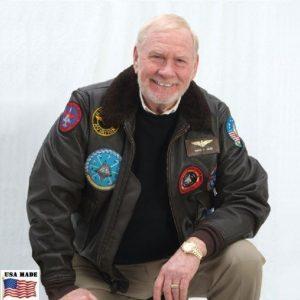 Sargent Hack, wearing the Goatskin G-1 Bomber's Jacket with Khaki pants.